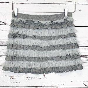 GAP KIDS | heather gray sage green ruffle skirt